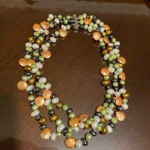 Multi color pearl necklace 16 inch